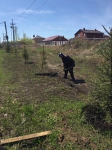 Выполнение работ по посадке и уходу за зелеными насаждениями. Апрель - май 2018 г
